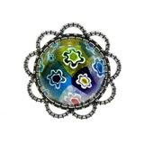 Inel aliaj reglabil Milefiori albastru, GlamBazaar, cu Sticla de Murano, Multicolor, tip Brosa handmade