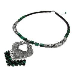 Colier Heart cu malachit si onix, GlamBazaar, 50 cm, cu Malachit, Onix, Negru, Verde, tip colier statement cu pietre naturale