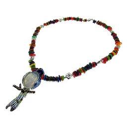 Colier Boho opalit si sidef multicolor UNICAT, GlamBazaar, 54 cm, cu Opal, Sidef, Multicolor, Translucid, tip colier statement cu pietre naturale