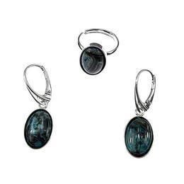 Set argint ocean jasp oval 14x10 MM, GlamBazaar, cu Jasp, Albastru, tip set bijuterii de argint 925 cu pietre naturale