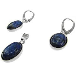 Set argint cu lapis lazuli oval 14x10 MM, GlamBazaar, cu Lapis Lazuli, Mov, tip set bijuterii de argint 925 cu pietre naturale