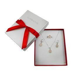 Set argint complet cuart roz oval 14x10 MM cu lantisor inclus, GlamBazaar, 50 cm x 1.1 cm, cu Cuart roz, Roz, tip set bijuterii de argint 925 cu pietre naturale