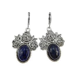 Cercei candelabru trandafiri cu lapis lazuli natural, GlamBazaar, 4.5 cm x 3.2 cm, cu Lapis Lazuli, Albastru, tip cercei candelabru cu pietre naturale