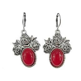 Cercei candelabru trandafiri cu agate rosii naturale, GlamBazaar, 4.5 cm x 3.2 cm, cu Agate, Rosu, tip cercei candelabru cu pietre naturale