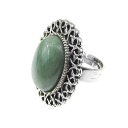 Inel aliaj reglabil cu aventurin natural, GlamBazaar, Reglabila, cu Aventurin, Verde, tip inel din aliaj metalic reglabil cu pietre naturale