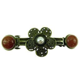 Clama de par floare bronz antic cu Piatra Soarelui si perla - GlamBazaar