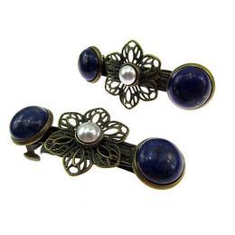 Set clame de par cu lapis lazuli si perle - GlamBazaar
