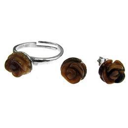 Set argint cu trandafiri ochi de tigru natural 8 MM, GlamBazaar, cu Ochi de tigru, Maro, tip set bijuterii de argint 925 cu pietre naturale