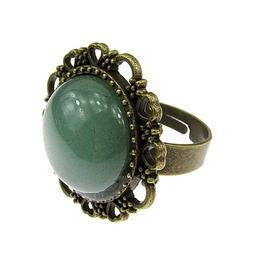 Inel reglabil bronz antic cu aventurin verde 16 MM, GlamBazaar, Reglabila, cu Aventurin, Verde, tip inel din aliaj metalic reglabil cu pietre naturale