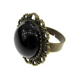 Inel reglabil bronz antic cu onix 16 MM, GlamBazaar, Reglabila, cu Onix, Negru, tip inel din aliaj metalic reglabil cu pietre naturale