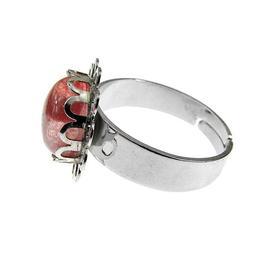 Inel aliaj reglabil floricica cu cuart cherry, GlamBazaar, Reglabila, cu Cuart roz, Roz, tip inel din aliaj metalic reglabil cu pietre naturale