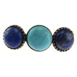 Clama de par bronz antic cu pietre lapis lazuli si turcoaz - GlamBazaar