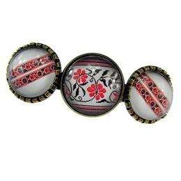 Clama de par model folcloric rosu&negru - GlamBazaar