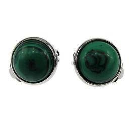 Cercei clips cu malachit 12 MM, GlamBazaar, 13 mm, cu Malachit, Verde, tip cercei clips cu pietre naturale