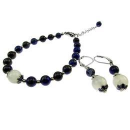 Set pietre naturale lapis lazuli si Piatra Lunii, GlamBazaar, 17.5 cm, cu Lapis Lazuli, Piatra Lunii, Alb, Albastru, tip set bijuterii handmade cu pietre naturale