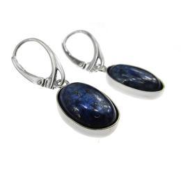 Cercei argint cu lapis lazuli natural 14x10 MM, GlamBazaar, 3.3 x 1.2 cm, cu Lapis Lazuli, Albastru, tip cercei de argint 925 cu pietre naturale