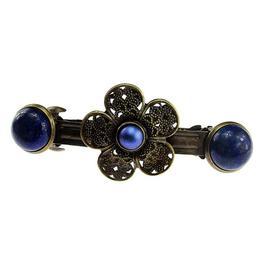 Clama de par floare bronz antic cu pietre naturale lapis lazuli - GlamBazaar