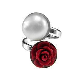 Inel argint reglabil cu perla de cultura si trandafir coral, GlamBazaar, Reglabila, cu Coral, Perle, Rosu, Alb, tip inel reglabil de argint 925 cu pietre naturale
