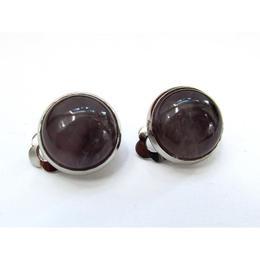 Cercei clips cu piatra naturala ametist 12 MM, GlamBazaar, 13 mm, cu Ametist, Mov, tip cercei clips cu pietre naturale