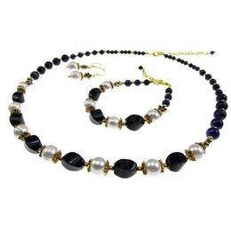 Set pietre naturale lapis lazuli si perle de cultura, GlamBazaar, 52 cm, cu Lapis Lazuli, Perle, Albastru, Alb, tip set bijuterii handmade cu pietre naturale