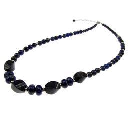 Colier din pietre naturale lapis lazuli cu inox, GlamBazaar, 46 cm, cu Lapis Lazuli, Albastru, tip colier handmade cu pietre naturale
