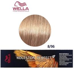 Vopsea Crema Permanenta - Wella Professionals Koleston Perfect ME+ Rich Naturals, nuanta 8/96 Blond Deschis Perlat Violet