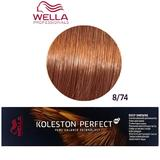 Vopsea Crema Permanenta - Wella Professionals Koleston Perfect ME+ Deep Browns, nuanta 8/74 Blond Deschis Castaniu Roscat