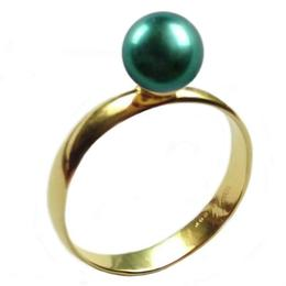 Inel din Aur cu Perla Naturala Premium Verde Smarald, 14 karate, 17.3 mm diametru