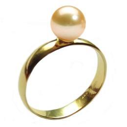 Inel din Aur cu Perla Naturala Premium Crem, 14 karate, 15.7 mm diametru