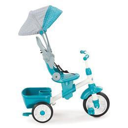 Tricicleta pentru copii Little Tikes Perfect Fit 4 in 1, maner de impins, spatiu depozitare si geanta Turcoaz