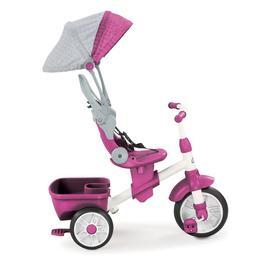 Tricicleta pentru copii Little Tikes Perfect Fit 4 in 1 cu acoperis, maner, geanta si spatiu depozitare Roz