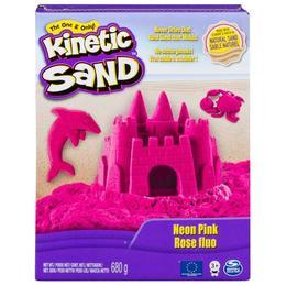 Set Nisip kinetic modelabil Kintetic Sand Spin Master DELUXE NEON Roz