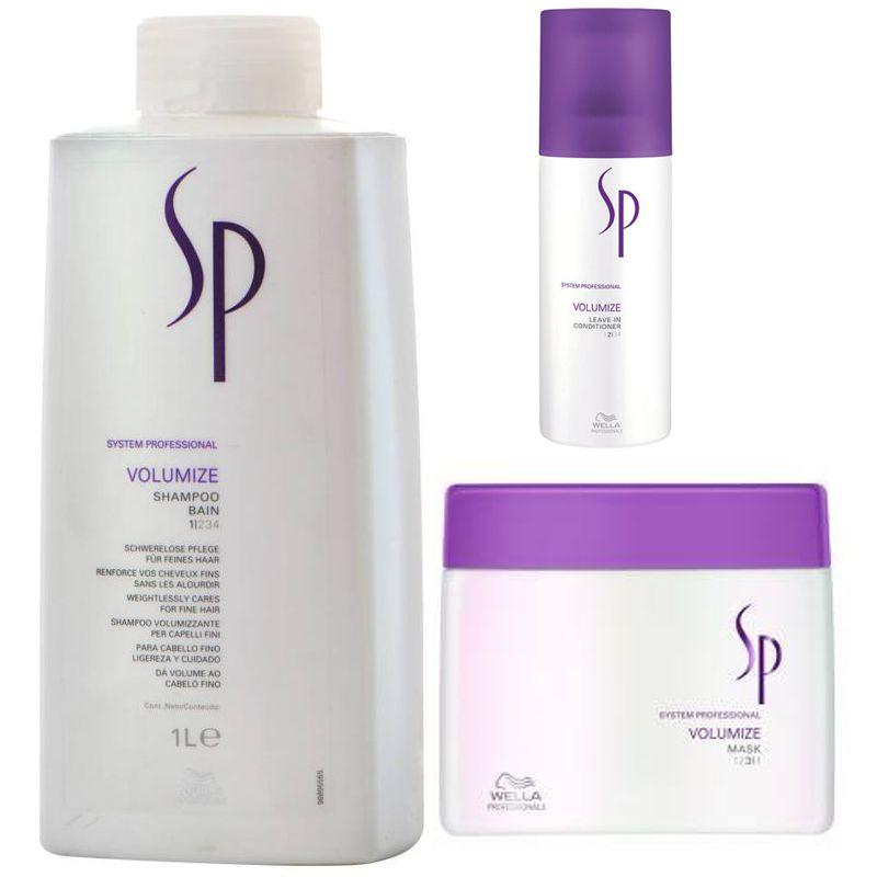 Pachet pentru volum par Wella SP Volumize - Sampon, Masca si Spray Leave - In imagine