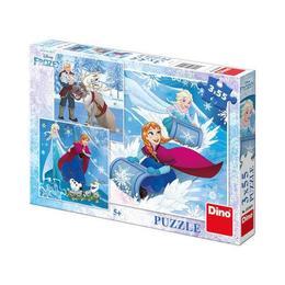 Puzzle clasic pentru copii 3 in 1 - Elsa si Ana, Regatul de Gheata, 3 x 55 piese Nebunici