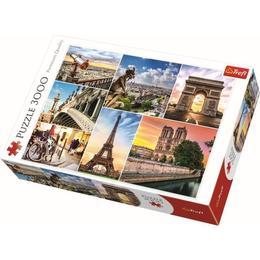 Puzzle clasic pentru copii si familie - Magia Parisului Nebunici - Colaj 3 imagini din capitala iubirii, 3000 piese