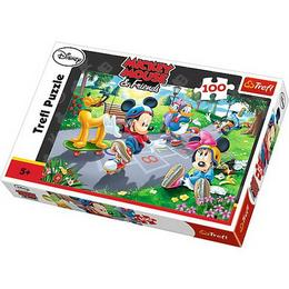 Puzzle clasic Mickey Mouse si Pluto la joaca pe role, 100 piese Nebunici