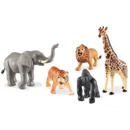 Set 5 figurine de jucarie mari cu animale din jungla pentru copii, aspect realistic, Learning Resources