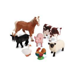 Set 7 figurine de jucarie mari cu animale domestice pentru copii - Ferma aspect realistic- Learning Resources