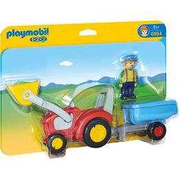 Playmobil 1.2.3 - Tractorasul cu remorca si figurina fermier