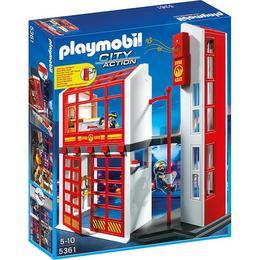 Playmobil City Action - Set figurine Statie pompieri cu alarma si figurine pompieri