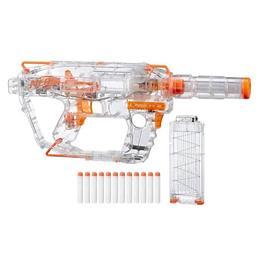 Blaster de jucarie Nerf Strike Modulus Ghost Ops Evader transparent 12 proiectile incluse, centura proiectile