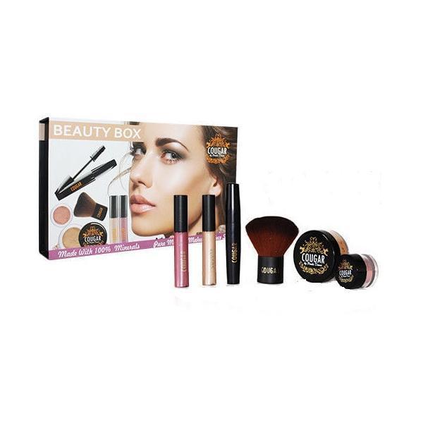 Set Makeup Cinnamon Beauty Box, machiaj complet din 6 piese cu pensula Kabuki Cadou imagine produs