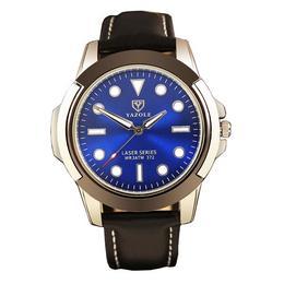 Ceas barbatesc Yazole CS881, Curea piele, Model elegant, Cadran albastru