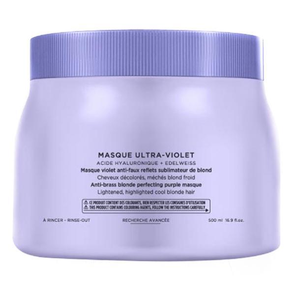Masca Violet pentru Neutralizarea Tonurilor Galbene - Kerastase Blond Absolu Masque Ultra-Violet Anti-Brass Blonde Perfecting Purple Masque, 500ml