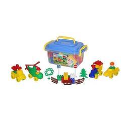 Set cuburi+jucarii, 128pcs/cutie, 37x24x21 cm, POLESIE - Robentoys