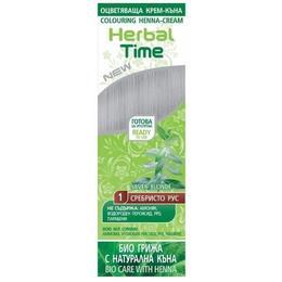 Crema Coloranta pe Baza de Henna Rosa Impex Herbal Time, nuanta 1 Silver Blonde, 75ml