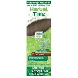 Crema Coloranta pe Baza de Henna Rosa Impex Herbal Time, nuanta 2 Cappuccino, 75ml de la esteto.ro