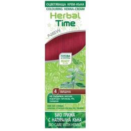 Crema Coloranta pe Baza de Henna Rosa Impex Herbal Time, nuanta 4 Morello, 75ml de la esteto.ro