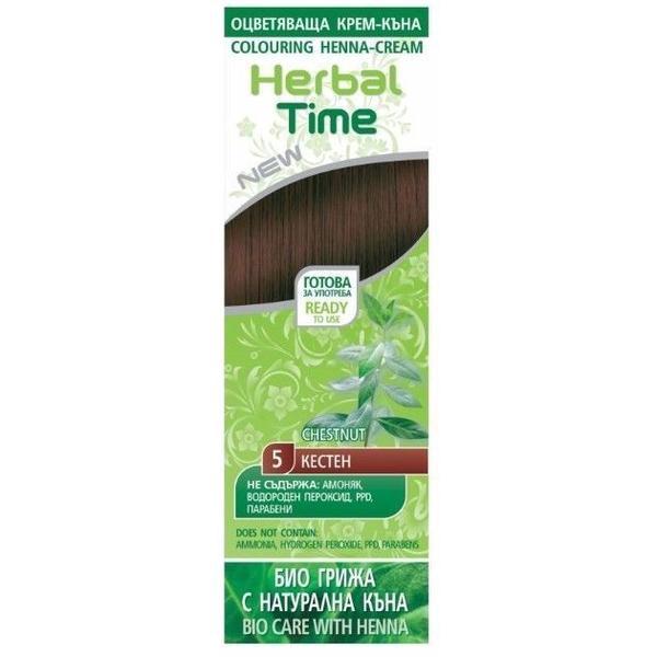 Crema Coloranta pe Baza de Henna Rosa Impex Herbal Time, nuanta 5 Chestnut, 75ml imagine produs