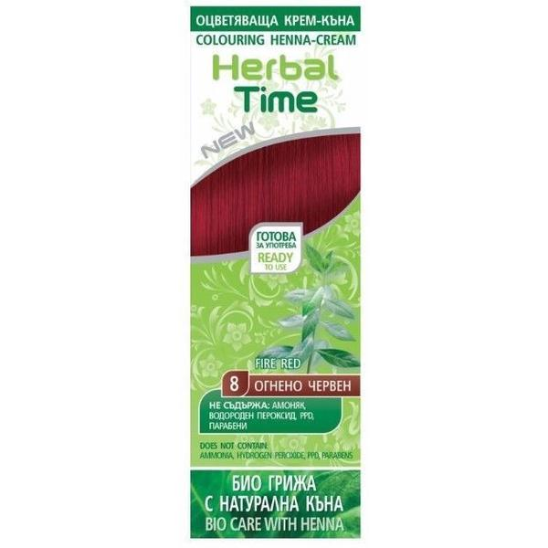 Crema Coloranta pe Baza de Henna Rosa Impex Herbal Time, nuanta 8 Fire Red, 75ml imagine produs